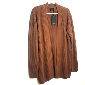Zara Open front ribbed cotton cardigan